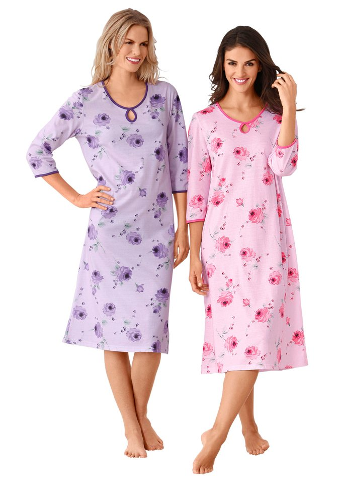 Nachthemden, Ascafa (2 Stck.) in rosé + lila