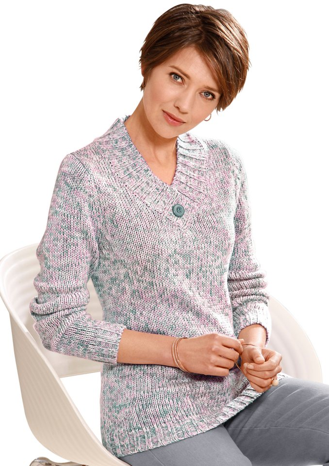 Collection L. Pullover mit Schmuckknopf in orchidee-türkis-meliert