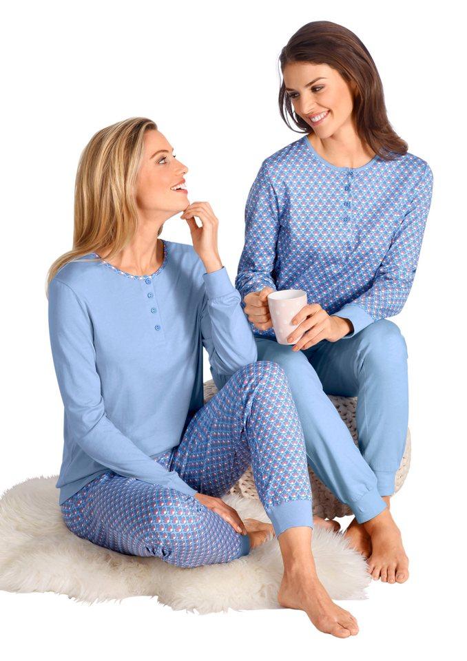 Schlafanzüge (2 Stck.) in bleu + bleu-bedruckt