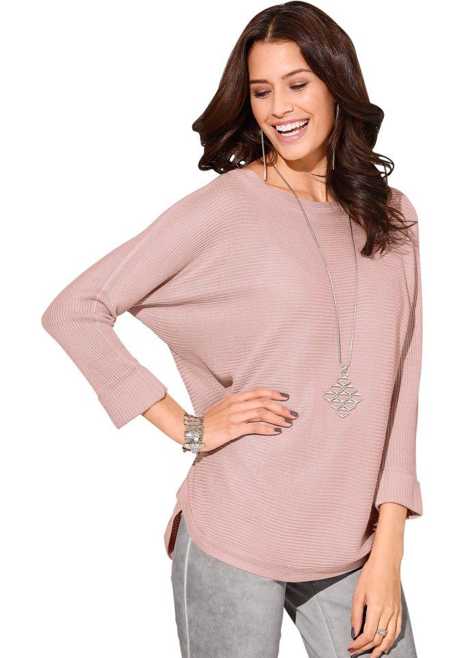 Création L Pullover mit Fledermaus-Ärmeln in rosé