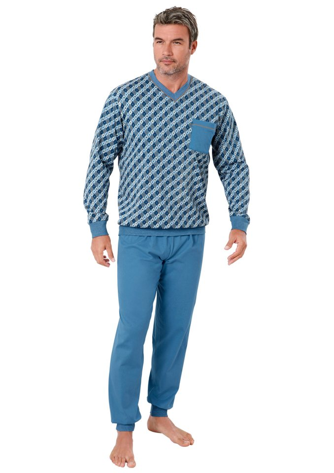 Schlafanzug, Kings Club in blau-bedruckt
