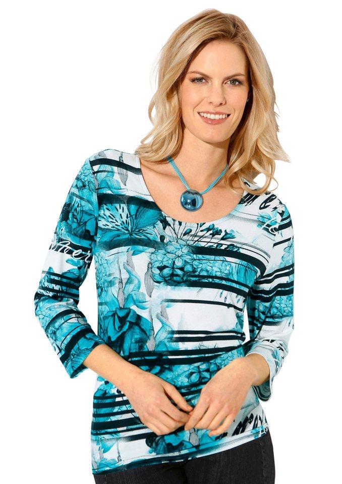 Classic Inspirationen Shirt mit 3/4-Ärmeln in türkis-bedruckt