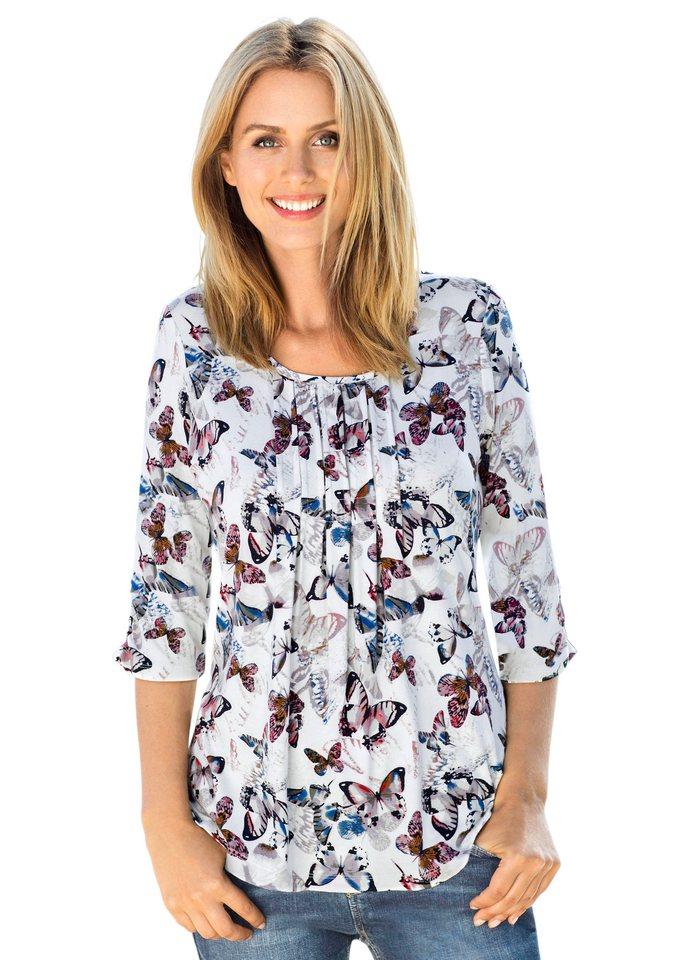 Classic Inspirationen Shirt mit Faltenpartie im Vorderteil in bunt-bedruckt