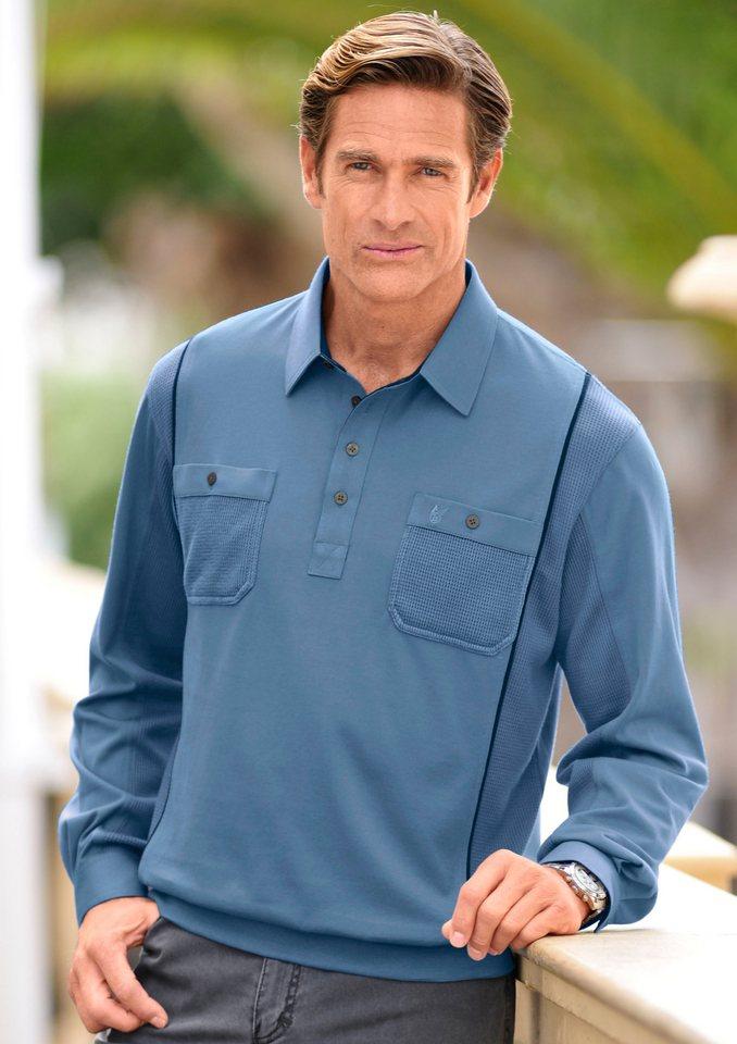 Hajo Poloshirt aus glattem Single-Jersey in jeansblau