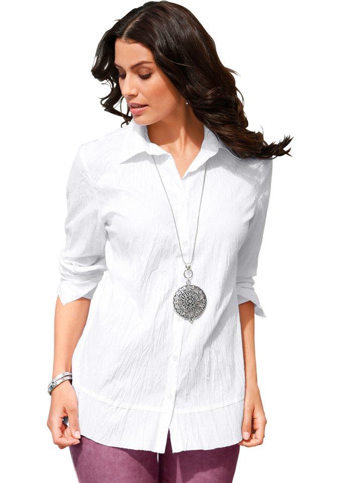 Création L Crash-Bluse mit Hemdkragen in weiß