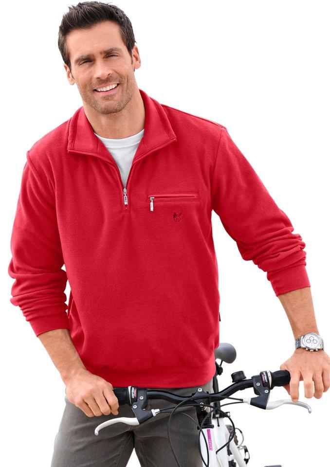 Hajo Fleece-Shirt mit Troyerkragen in rot