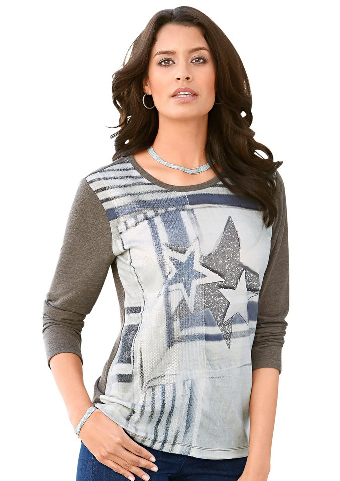 Classic Inspirationen Shirt mit Druck im Vorderteil in taupe-bedruckt