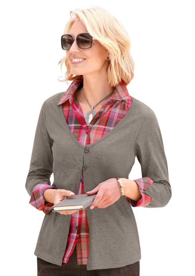 Collection L. 2-in-1-Shirt mit tiefem Rundhalsausschnitt in taupe-meliert