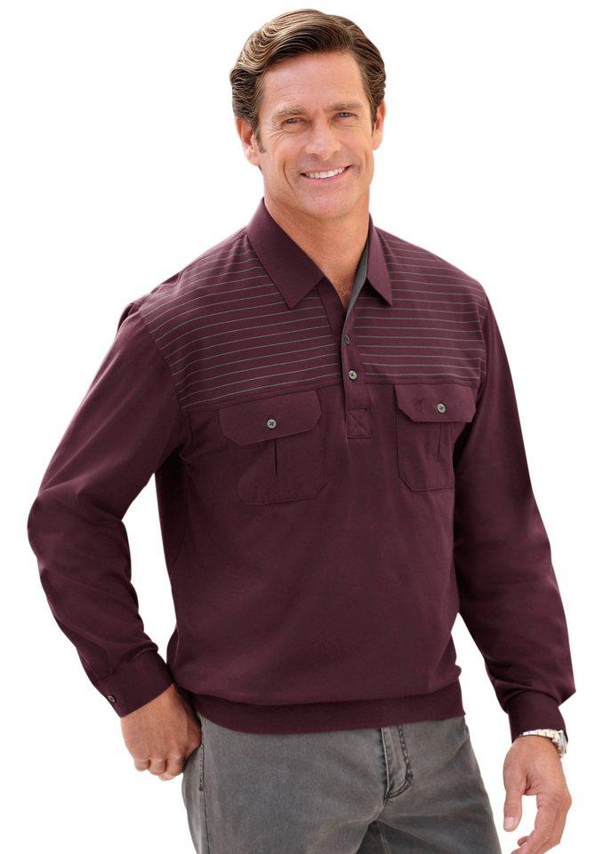 Hajo Poloshirt mit Knopfleiste in bordeaux
