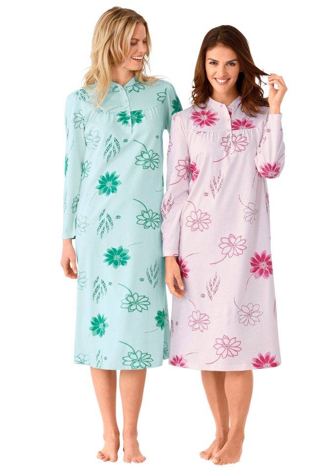 Nachthemden, Ascafa (2 Stck.) in mint + rosé