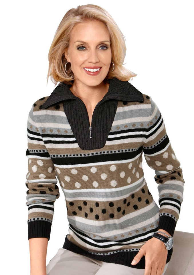 Classic Basics Pullover mit Troyerkragen in taupe-gemustert