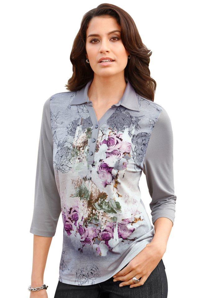 Lady Poloshirt mit 3/4-Ärmeln in grau-gemustert