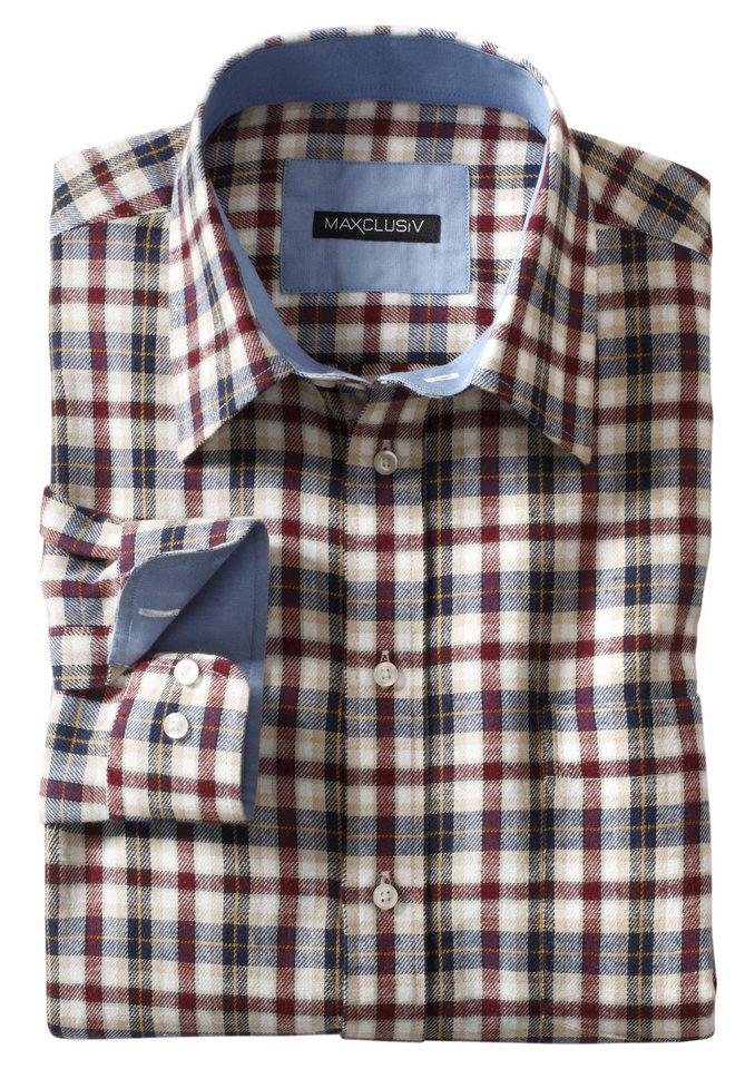 Maxclusiv Langarm-Hemd aus weicher Flanell-Qualität in beige-kariert