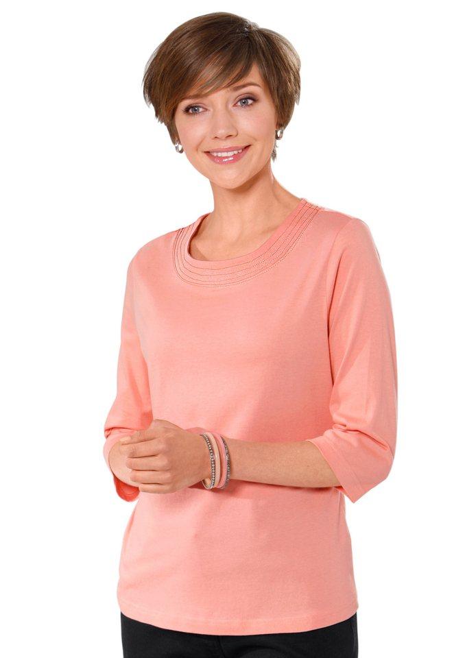 Classic Basics Shirt mit 3/4-lange Ärmel (2 Stck.) in koralle + apricot