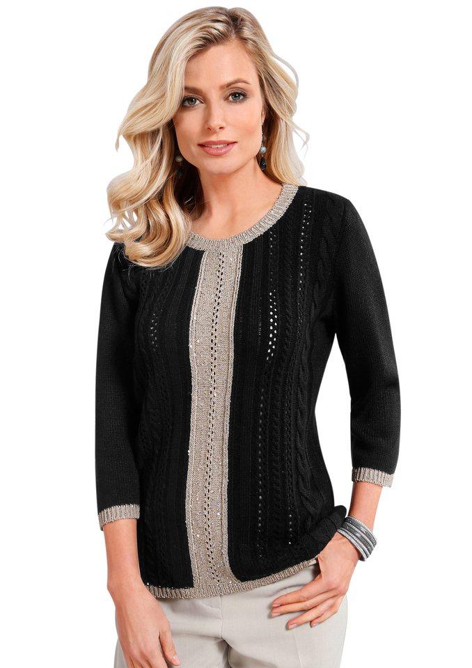 Lady Pullover mit 3/4-Ärmeln in schwarz-beige