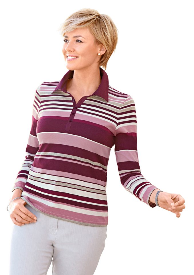 Collection L. Poloshirt in weicher PURE WEAR-Qualität in brombeer-gestreift