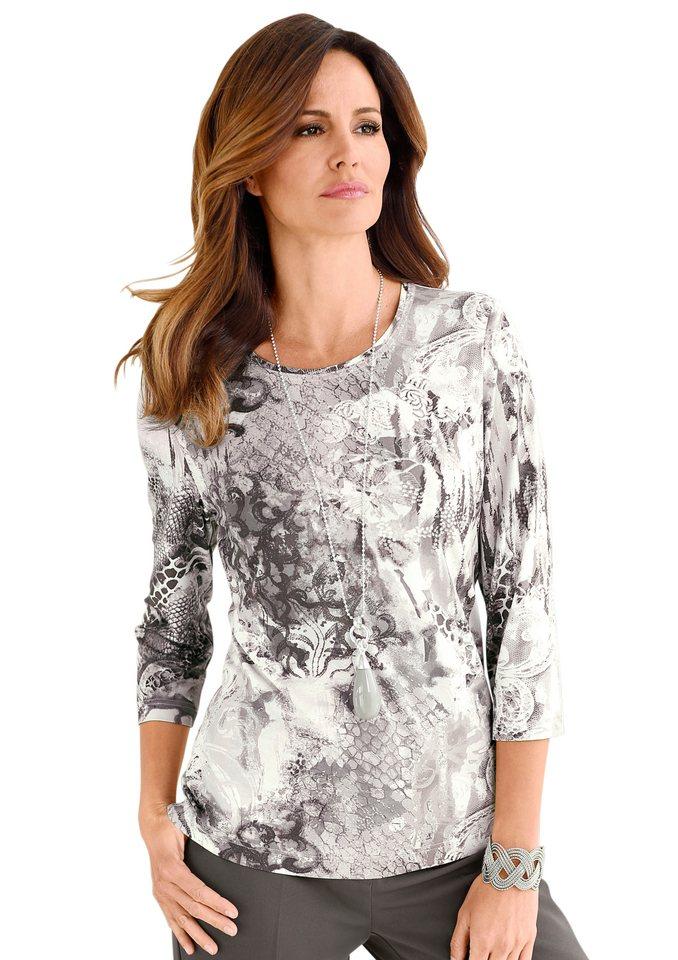 Alessa W. Shirt aus geschmeidig weichem Viskose-Stretch in taupe-bedruckt