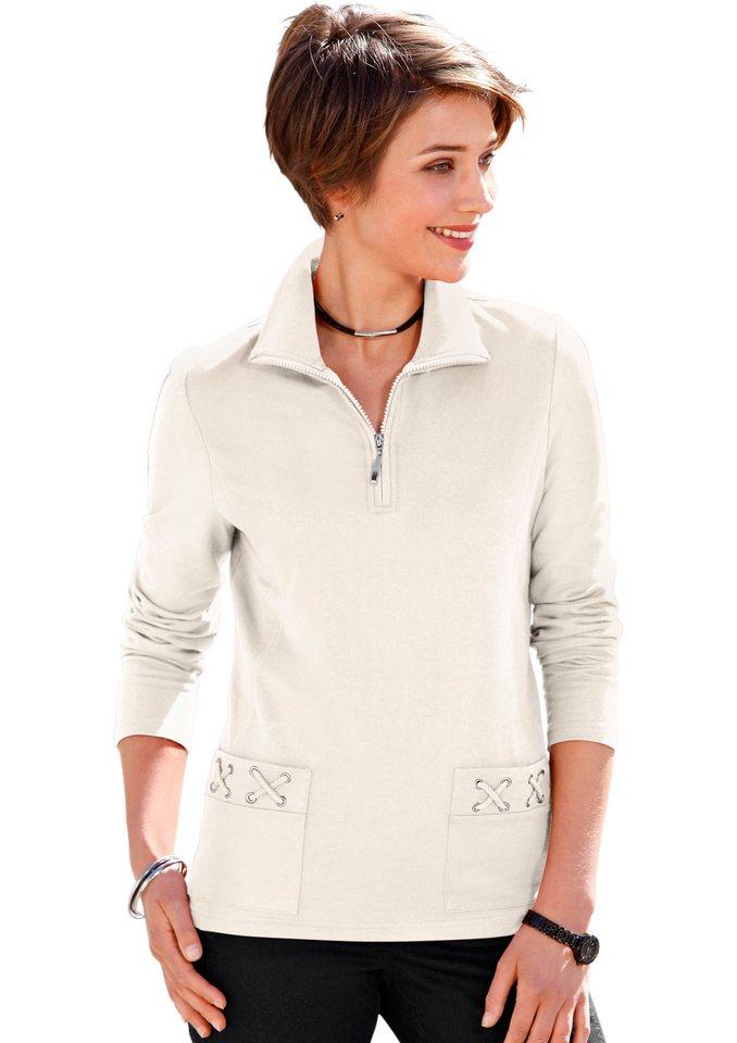 Collection L. Sweatshirt mit Troyerkragen in wollweiß