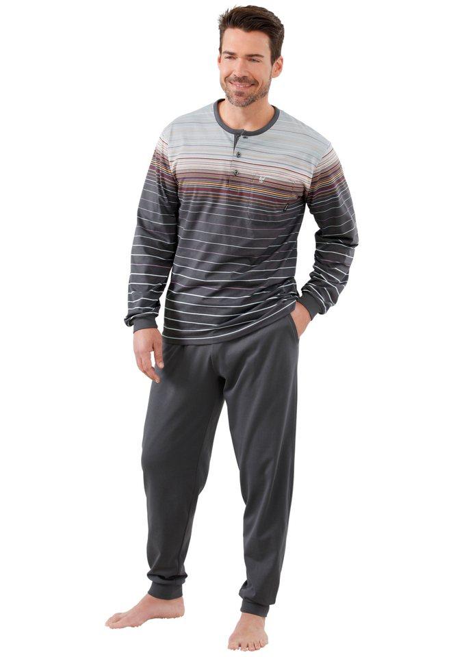 Schlafanzug, Hajo, »Hajo-Klima-Komfort« in anthrazit-bedruckt
