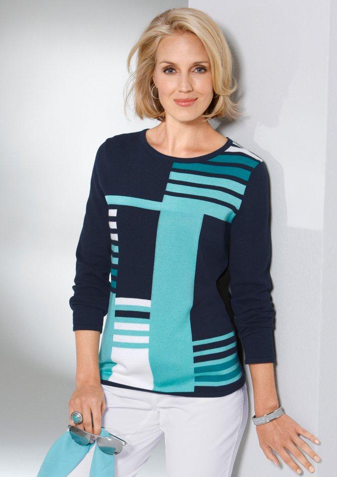 Classic Basics Pullover mit verschiedenen Blockstreifen-Partien in marine-aqua-gemustert