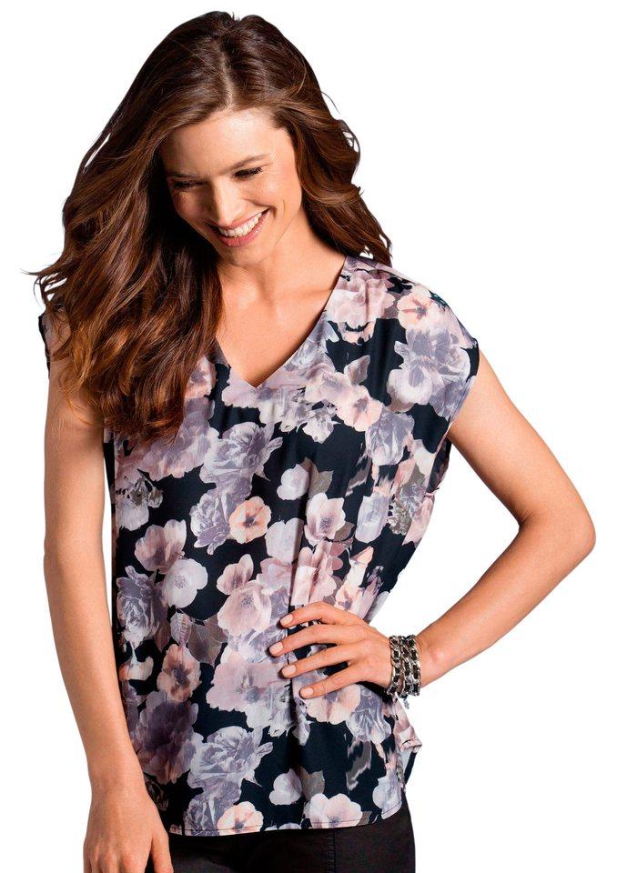 Classic Inspirationen Blusenshirt mit überschnittenen Schultern in rosé-grau-bedruckt