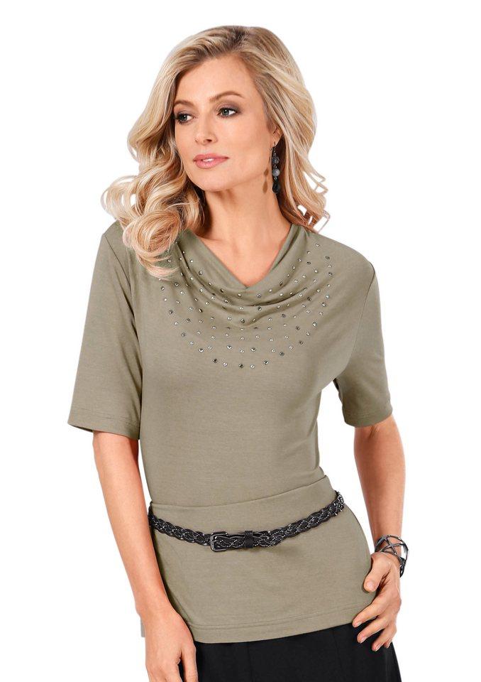 Lady Shirt mit Wasserfall-Kragen in sand