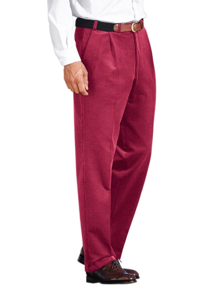 Classic Stretchcord-Hose mit bequemer Bundfalte in rostrot