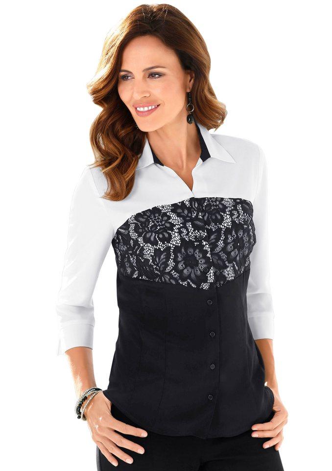Alessa W. Bluse mit Hemdkragen in schwarz-weiß