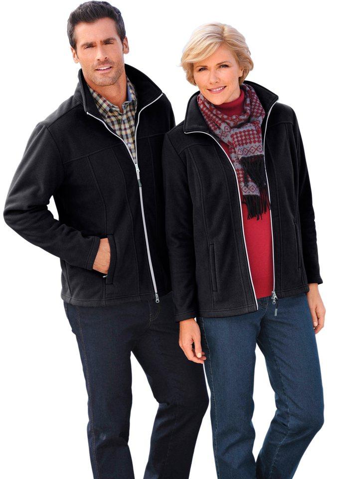 Marco Donati Fleece-Jacke mit Reißverschluss in schwarz