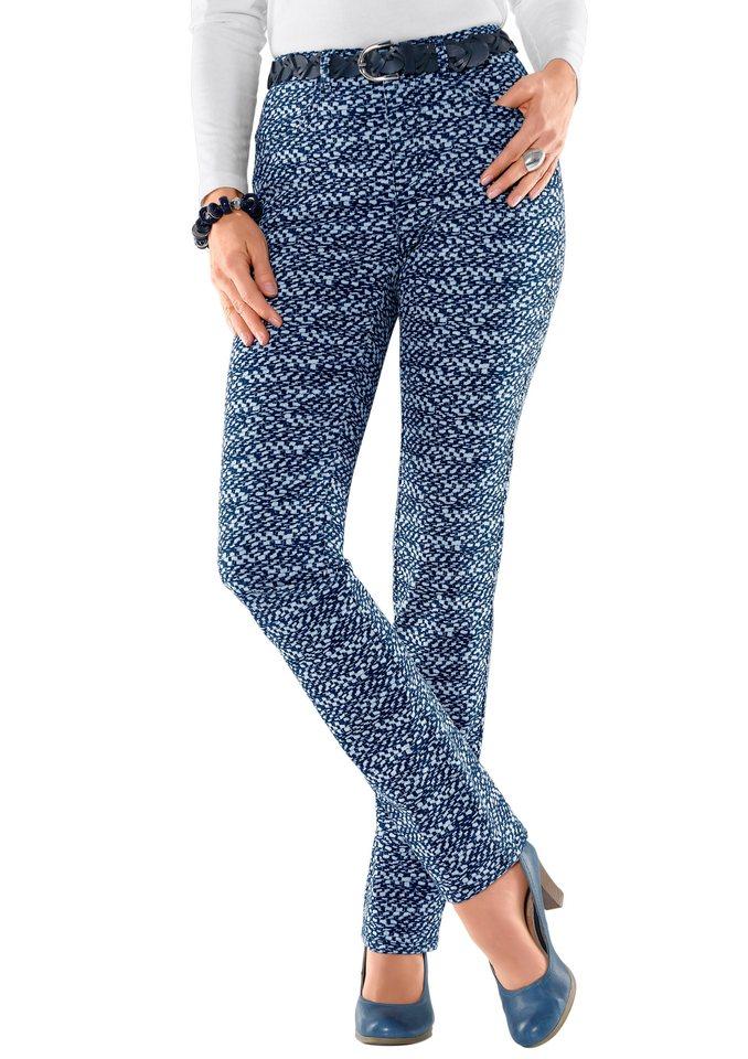 Collection L. Jeans mit Abnäher am hinteren Bund in marine-gemustert