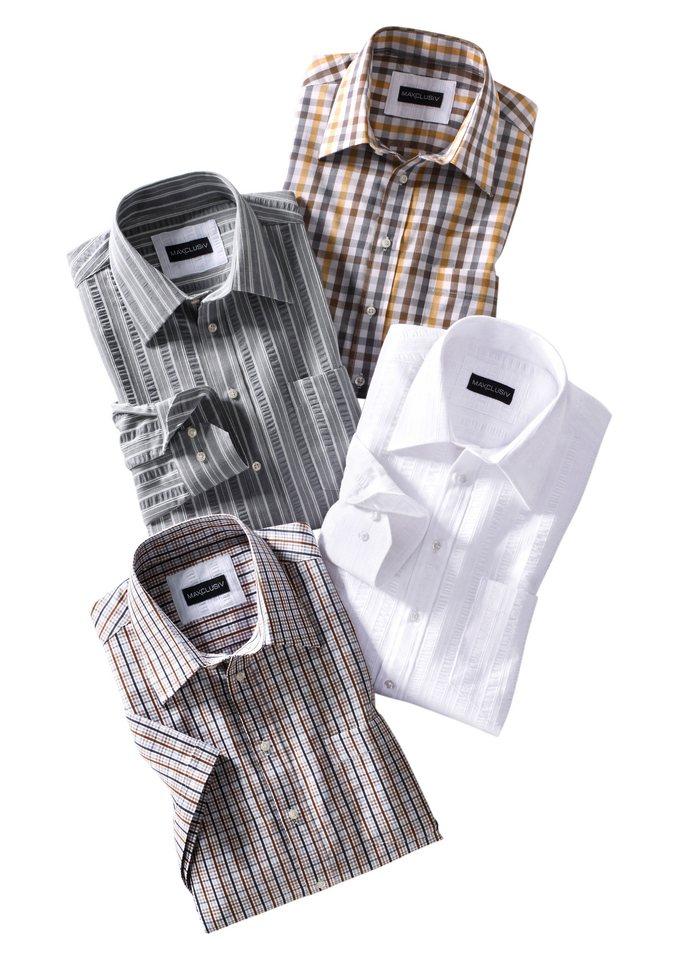 Maxclusiv Kurzarm-Hemd mit Kentkragen, Maxclusiv in weiß