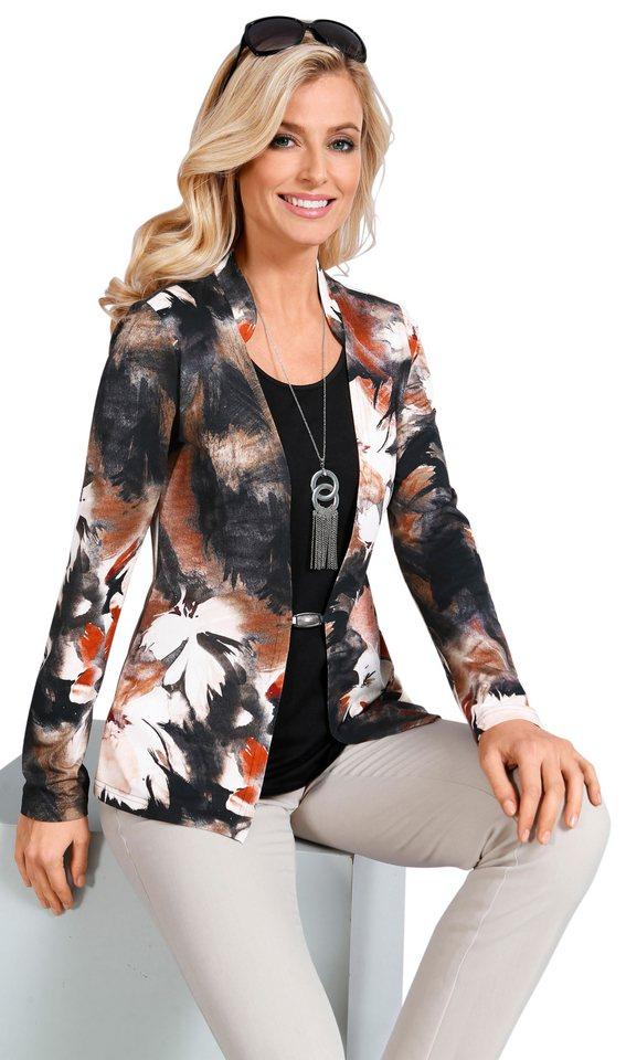 Lady Shirt mit Stehkragen in schwarz-zimt