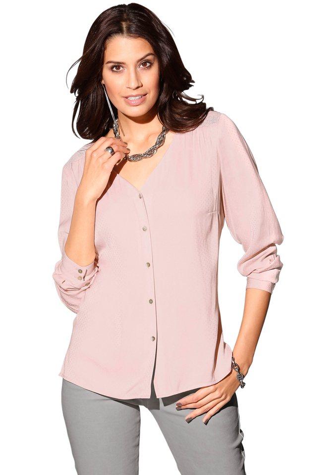 Création L Bluse mit Perlmutt-Knöpfen in rosé