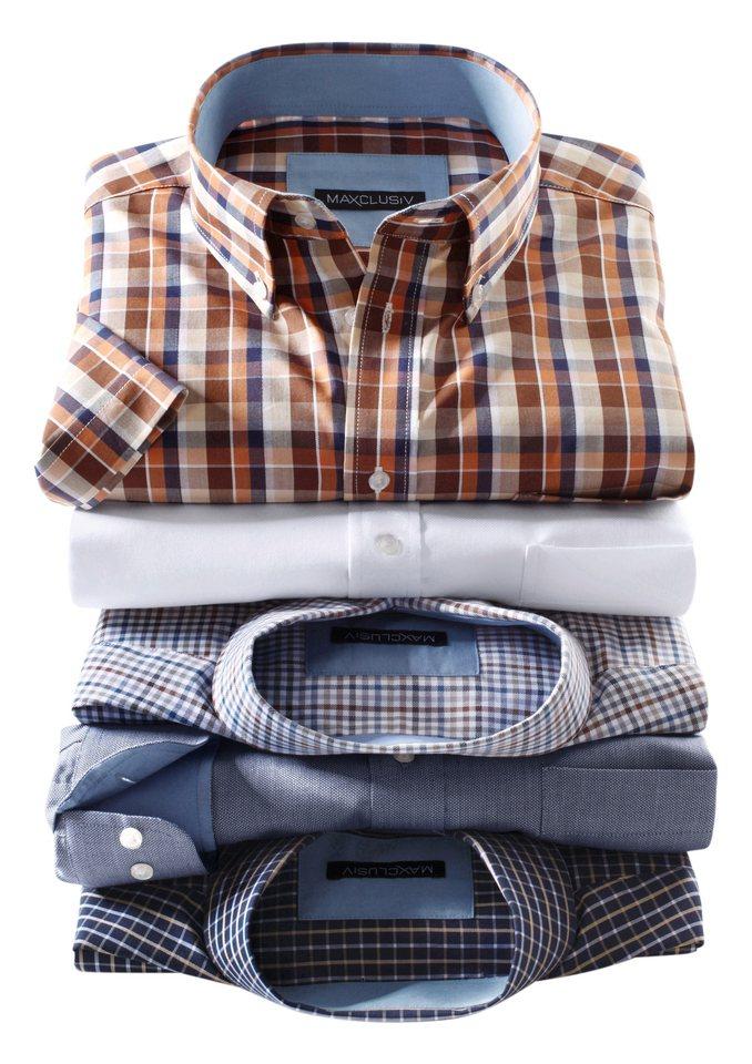 Maxclusiv Kurzarm-Hemd mit Brusttasche in braun-terra