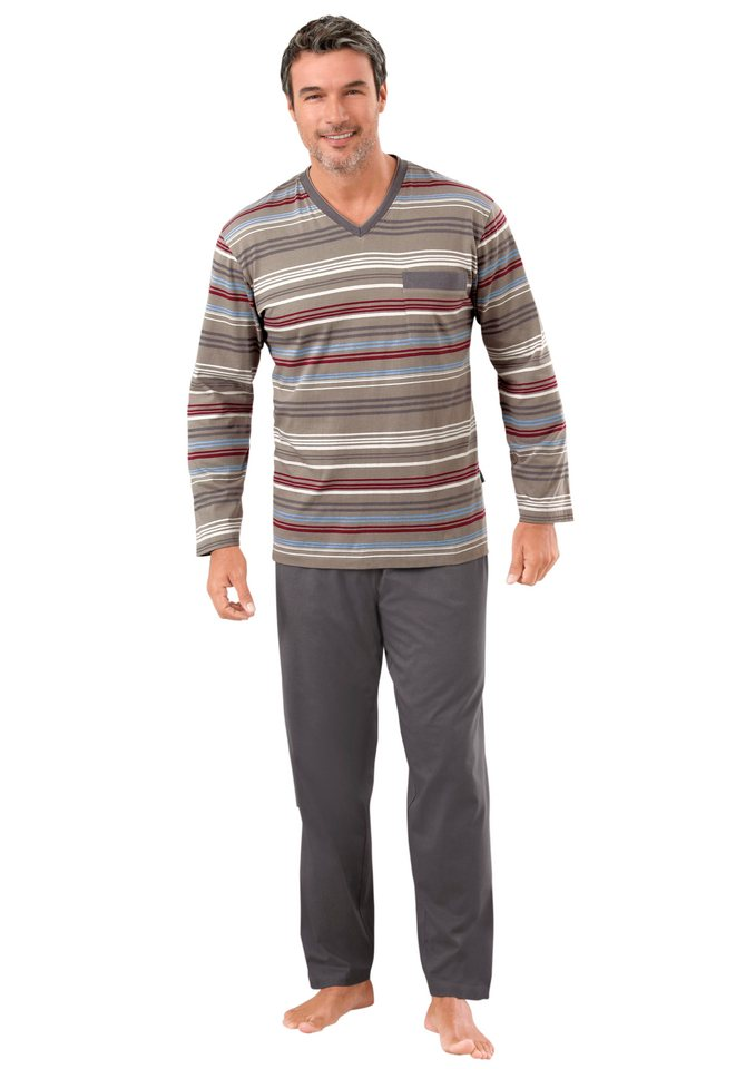 Schlafanzug, Comte, »CLIMATE WEAR« in taupe-geringelt