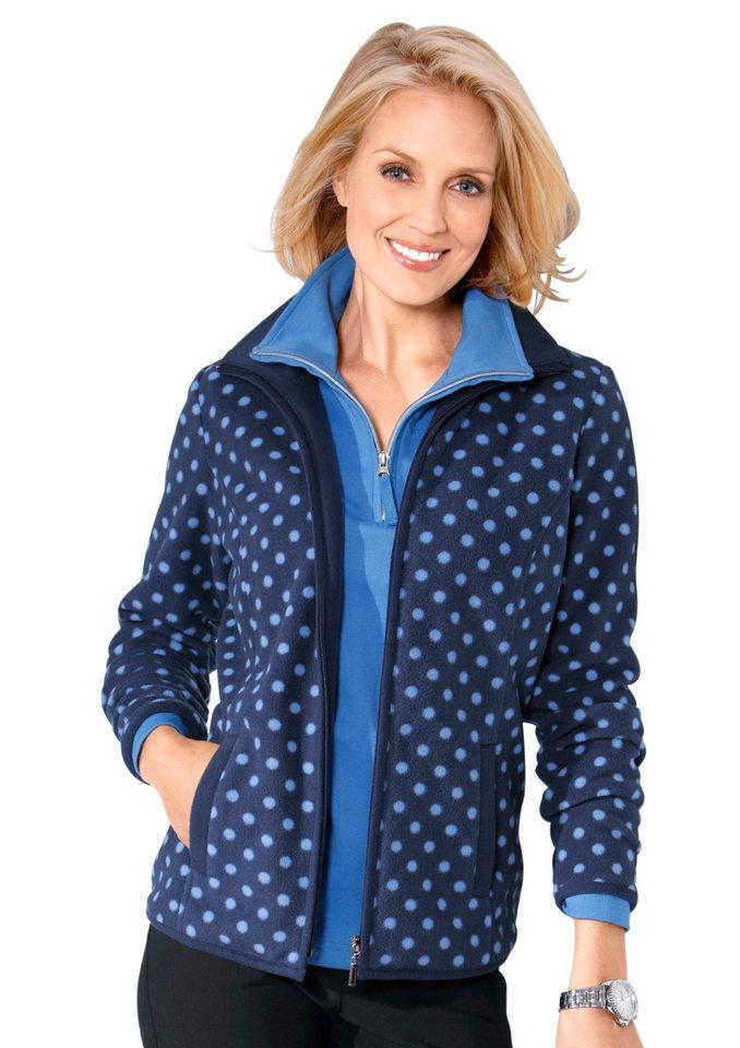 Classic Basics Fleece-Jacke mit Anti-Pilling-Ausrüstung in marine-getupft