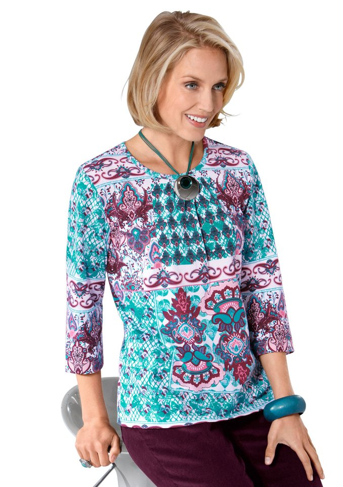 Classic Basics Shirt mit dezenter Raffung in smaragd-gemustert