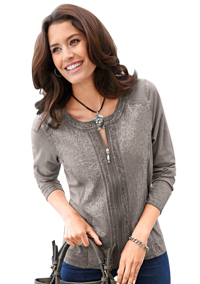 Classic Inspirationen Shirtjacke mit edlen Details in taupe