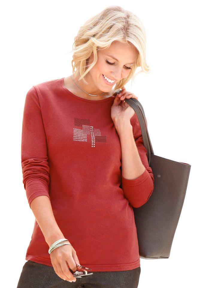 Collection L. Shirt mit effektvoll glitzernden Ziersteinchen, Collection L in ziegelrot