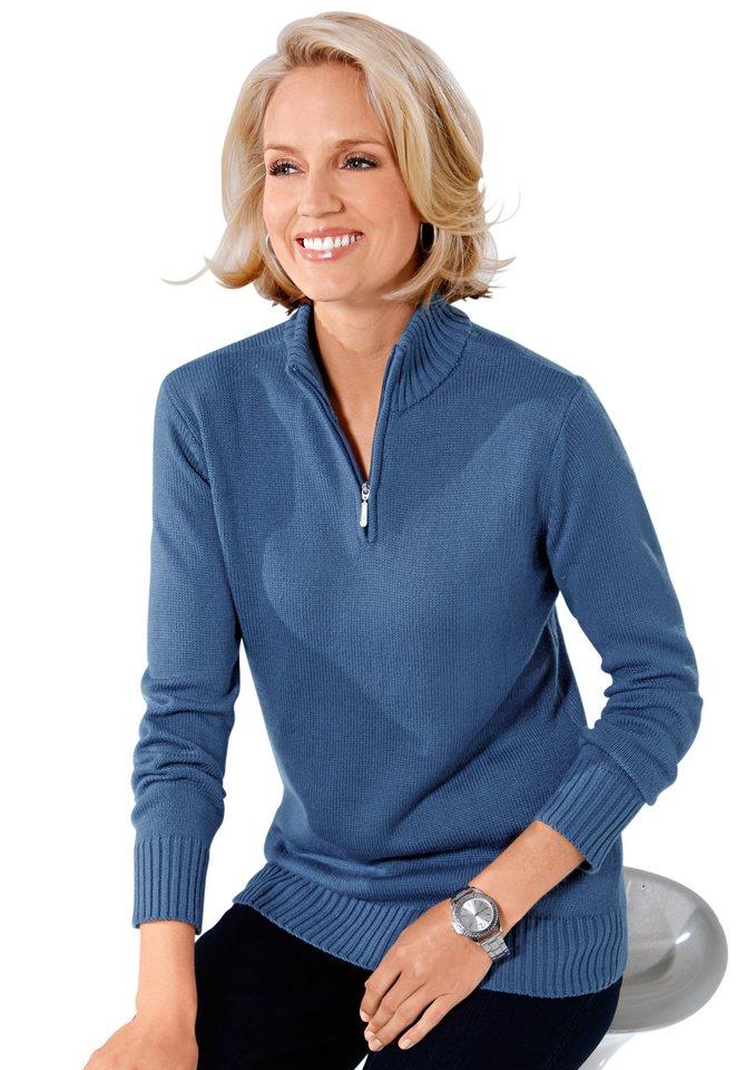 Classic Basics Pullover mit Stehkragen in jeansblau