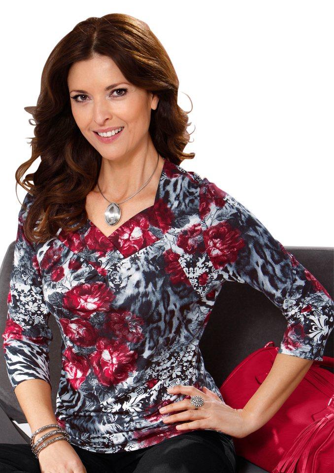Lady Shirt mit herzförmig geschwungenem Ausschnitt in kirsche-schwarz-bedruckt