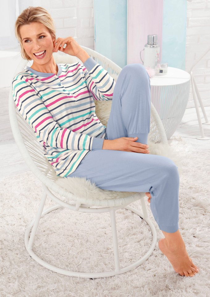 Schlafanzug, Rosalie in hellblau-gestreift