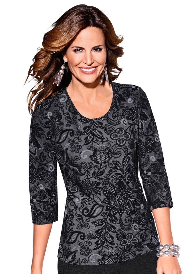 Lady Shirt mit ornamentalem Jacquard-Dessin rundum in grau-gemustert
