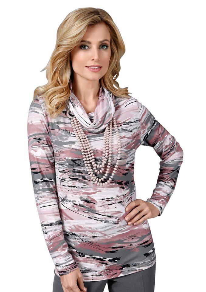 Lady Shirt mit halsfernem Rollkragen in rosé-grau-gemustert