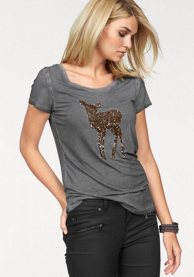 Laura Scott T-Shirt mit Paillettenstickerei: Motiv Reh in grau-used