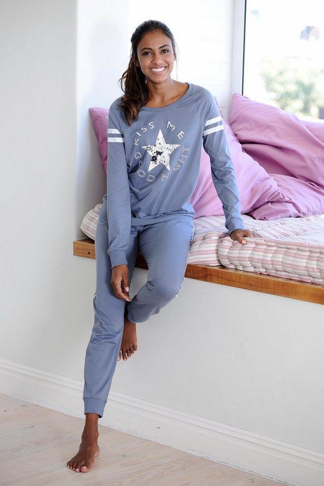 Buffalo Langer Pyjama im Sports-Look in grau