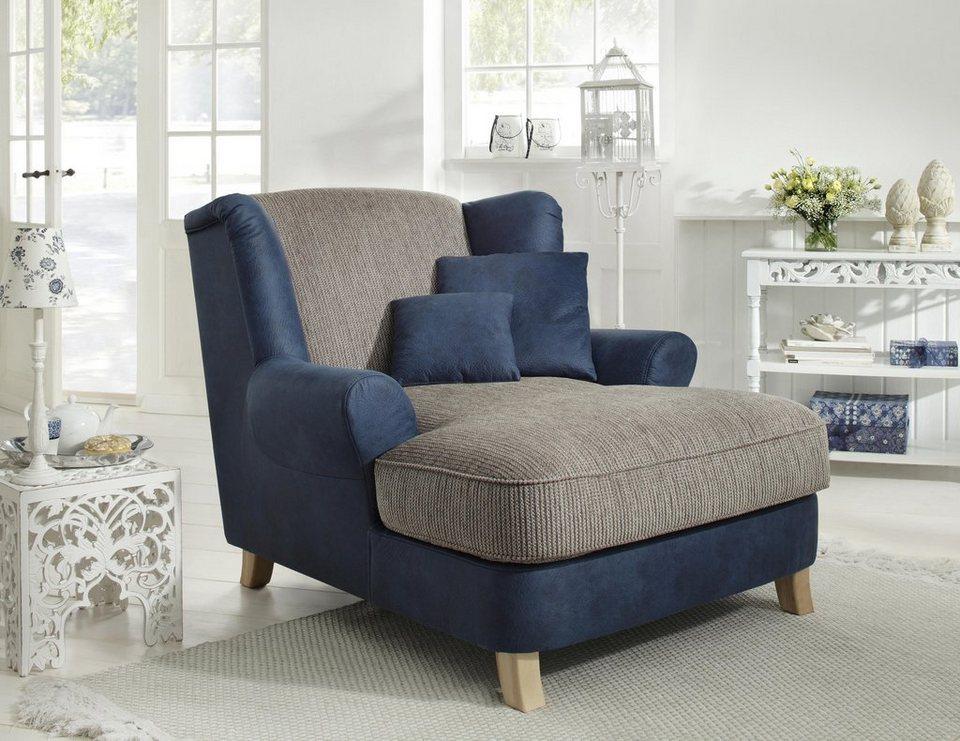 Home affaire Sessel »Calia«, Luxusmicrofaser/Chenille in blau/schlamm