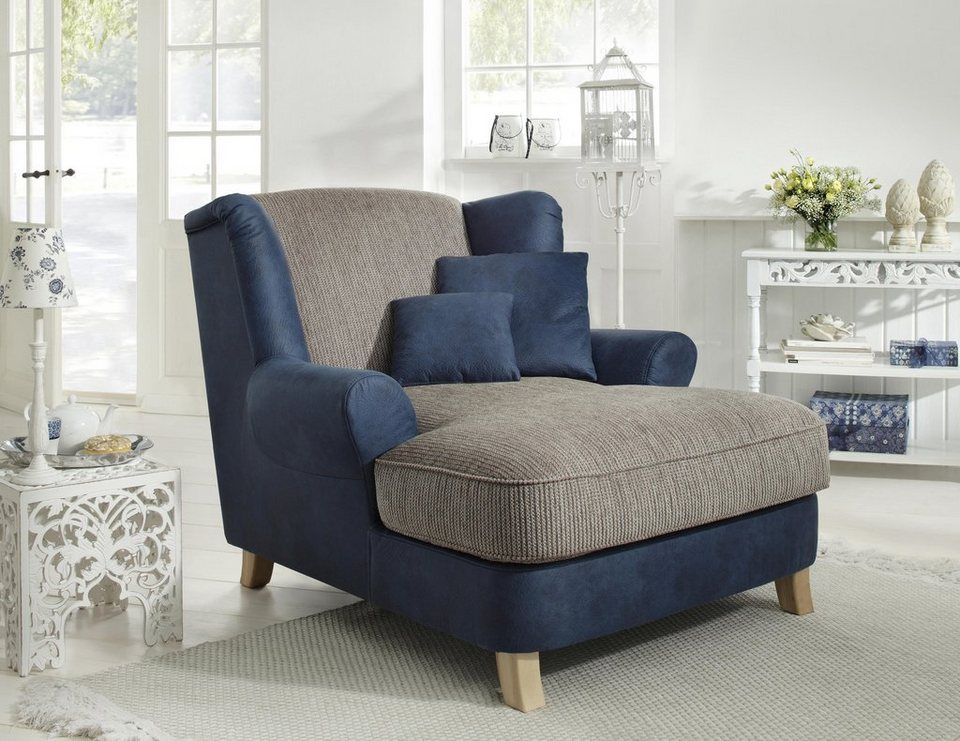 Home affaire Sessel »Celia«, Luxusmicrofaser/Chenille in blau/schlamm