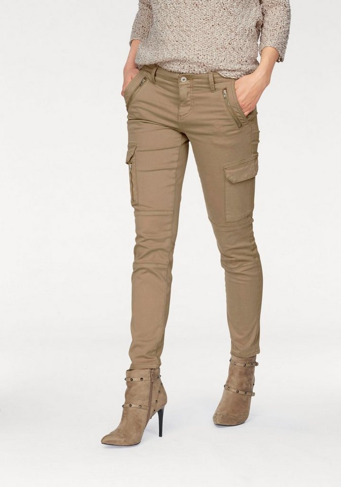 Laura Scott Cargohose Skinny Fit in beige