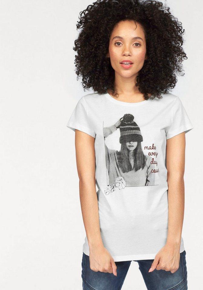Tom Tailor Denim T-Shirt mit Frontprint in wollweiß